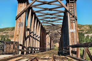 landscape railway abandoned bridge wood bridge
