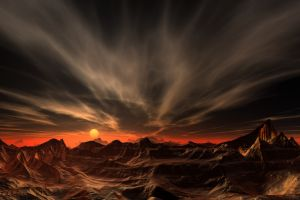 landscape red sunset nature desert mountains sky clouds erosion