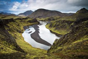 landscape river mountains iceland nature canyon