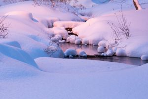 landscape river winter nature stream pink snow