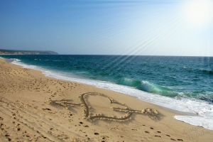 landscape sand heart (design) beach sea