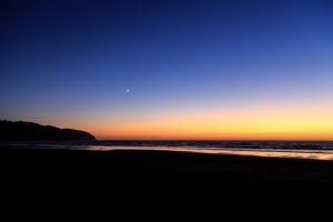 landscape sea beach sunset horizon silhouette