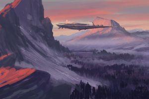 landscape spaceship nature sunset artwork digital art futuristic mountains
