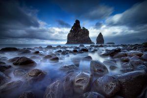 landscape spain clouds rock beach nature sea island mist
