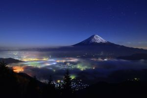 landscape starry night cityscape lights nature mount fuji mist japan mountains snowy peak trees