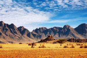 landscape stones rock nature mountains plants desert namibia clouds africa trees