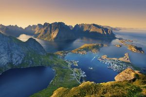 landscape town mountains clear sky nature sunlight coast norway fjord europe lofoten harbor bay sunset sea