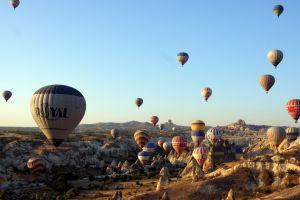landscape turkey cappadocia rock formation hot air balloons