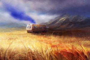 landscape vehicle nature artwork