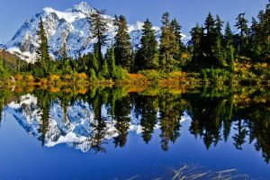 landscape water nature clouds forest snowy peak reflection mountains snow lake trees