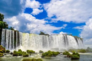 landscape waterfall animals nature