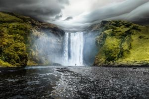 landscape waterfall iceland nature river overcast