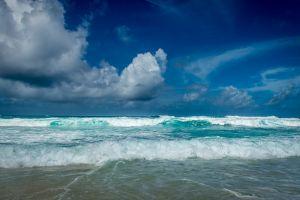 landscape waves beach blue nature clouds seychelles tropical sky sea summer island water