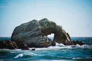 landscape waves coast clear sky sea blue horizon rock birds