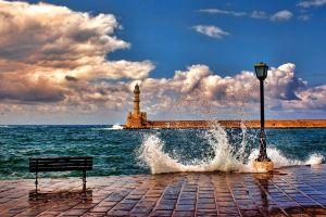 landscape waves sea crete coast street light lighthouse breakwater