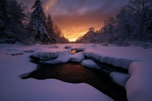 landscape winter maine sky sunset snow forest clouds cold frost nature trees