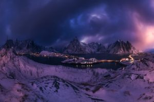 landscape winter reine snow cold sky clouds lofoten islands lights mountains sea nature norway panoramas