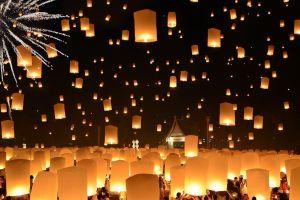 lantern festival night candles house floating people thailand fireworks lantern crowds