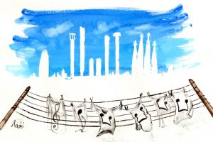 laundry watercolor city musical notes