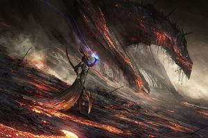 lava dragon fantasy art magic