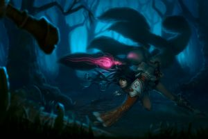 league of legends pc gaming dark ahri glowing eyes