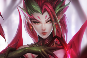 league of legends pc gaming redhead fantasy girl zyra