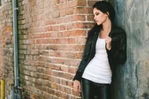 leather jackets white tops looking away jacket women dark hair leather pants  smoky eyes