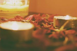 leaves candles photography