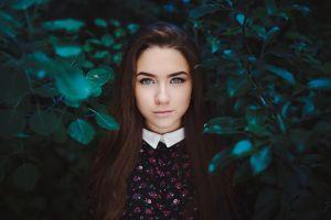 leaves model women face portrait