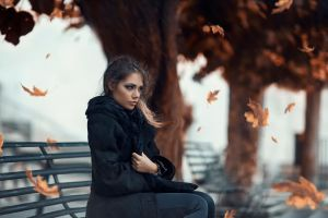 leaves women outdoors fall women alessandro di cicco bench black coat