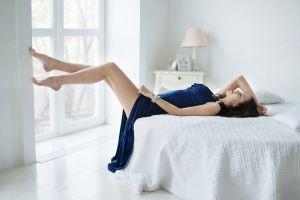 legs women catherine timokhina lying down legs up tiptoe blue dress dress in bed