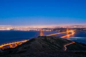 light trails golden gate bridge long exposure san francisco city lights