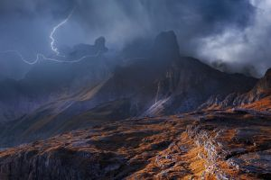 lightning italy mountains mist dolomites (mountains) storm landscape clouds nature sky summer