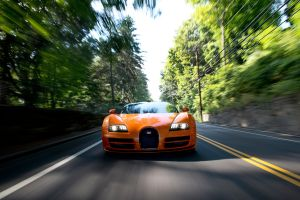 lights car bugatti veyron grand sport vitesse motion blur road