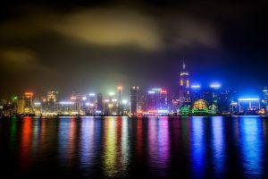 lights city lights street light sea night reflection urban building photography city water clouds hong kong cityscape