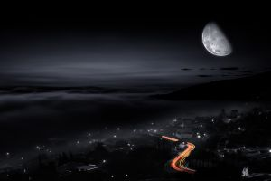 lights long exposure nature sky city night traffic moon