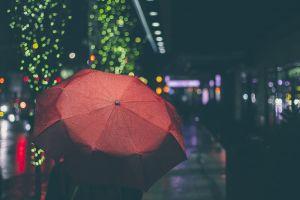 lights night urban umbrella red