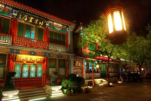 lights street night beijing lamp cityscape capital city building asian architecture trees architecture sculpture