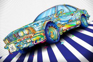 lines colorful paint splatter matei apostolescu psychedelic skull and bones digital art artwork wheels car bmw