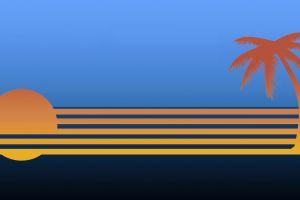 lines sea orange horizon sun minimalism palm trees digital art