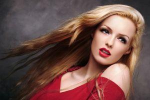 lips red lipstick retouching long eyelashes women red dress photoshop blonde model