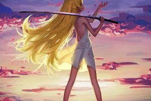 loli monogatari series anime girls looking back long hair blonde anime oshino shinobu