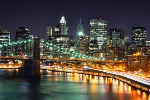 long exposure city bridge city lights night new york city