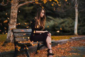 long hair black dress leaves women outdoors women heels depth of field dress blonde sitting classy