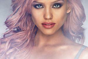 long hair blue eyes redhead women jessica alba looking at viewer face