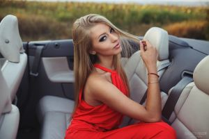 long hair car blonde igor salkov anastasia ivashchenko sitting holding hair red dress inside a car women anastasia