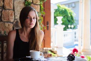 long hair coffee tank top auburn hair blue eyes indiana a women