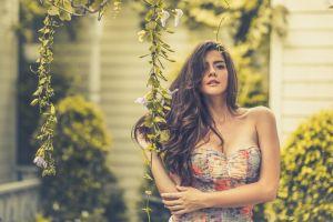 long hair dress bare shoulders plants leaves cleavage depth of field women trees women outdoors brunette filter