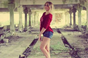 long hair jean shorts blonde red sweater women women indoors looking at viewer