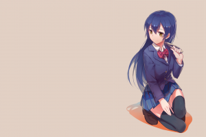 long hair love live! sonoda umi anime anime girls school uniform ribbon blue hair yellow eyes skirt simple background thigh-highs
